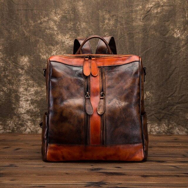 Backpack women real cowhide vintage daypack travel bag leisure genuine leather