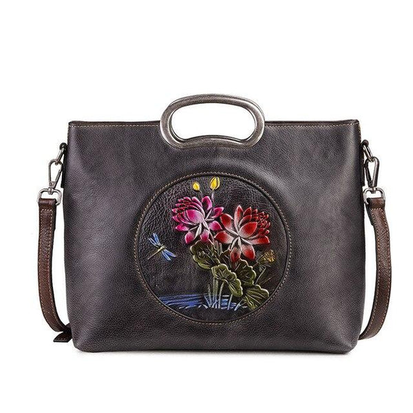 Bag women leather messenger shoulder floral pattern vintage for design natural skin tote luxury handbag