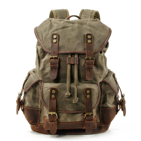 Backpacks for men vintage canvas leather laptop daypacks waterproof large waxed mountaineering travel pack