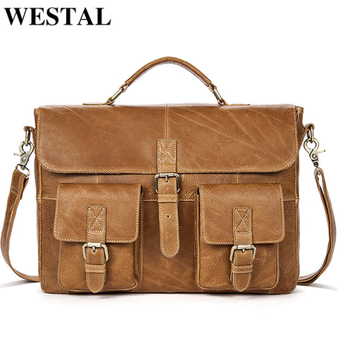 Briefcases men business men genuine leather messenger laptop office portable