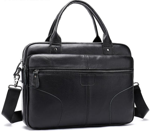 Briefcase men genuine leather shoulder laptop business office