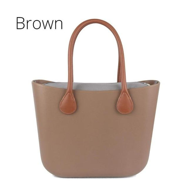 Bag women style classic with insert inner pocket handles colorful silicon rubber waterproof handbag