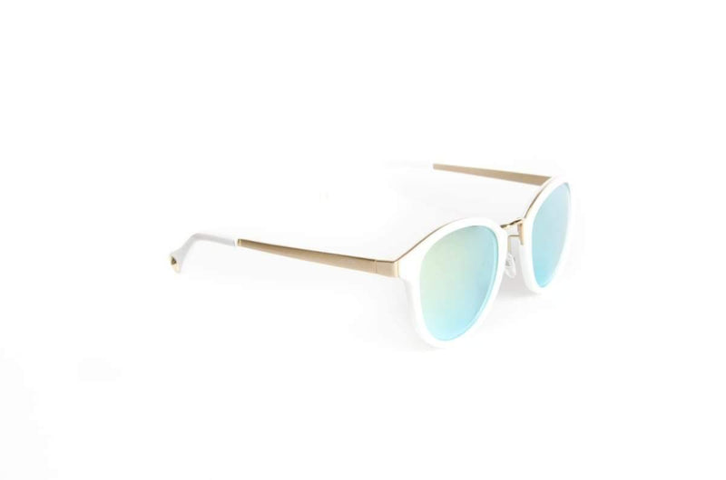 Flexible unisex round sunglasses White Line