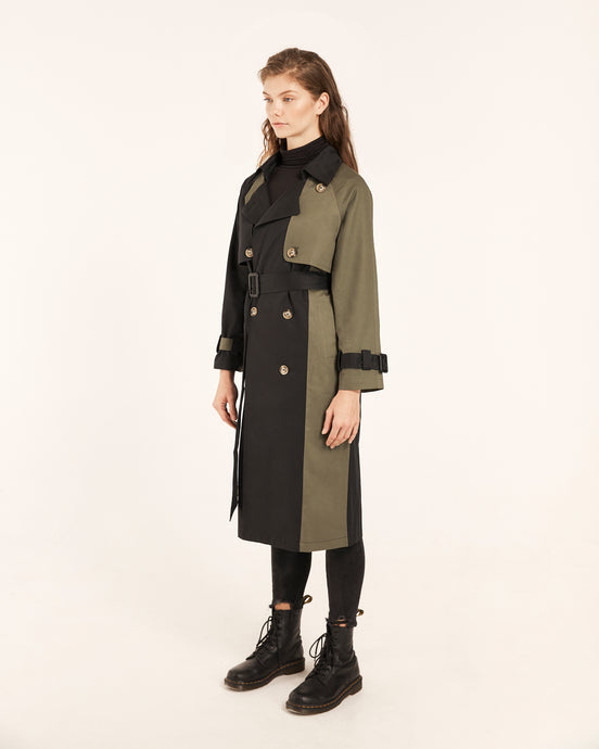 Spliced Khaki Green & Black Trench Coat