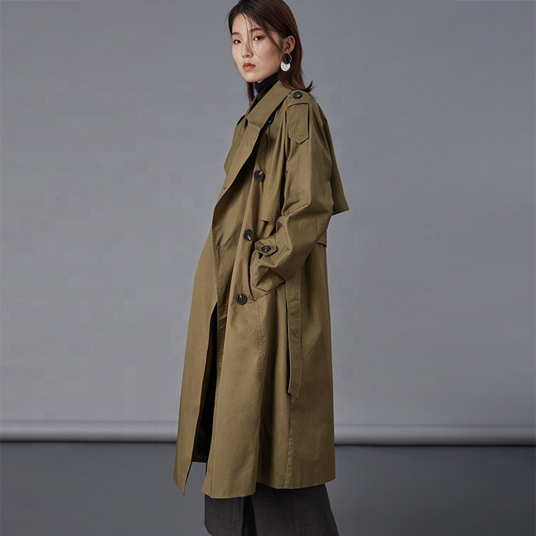 Hector Powe Women's Military Green Trenchcoat
