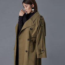 Load image into Gallery viewer, Hector Powe Women's Military Green Trenchcoat