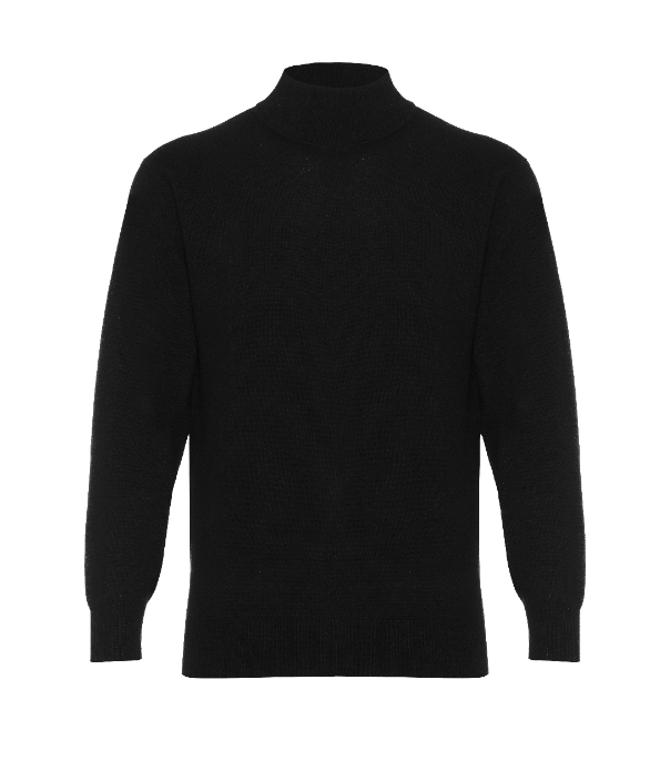 Hector Powe Black Cashmere Polo Neck Jumper