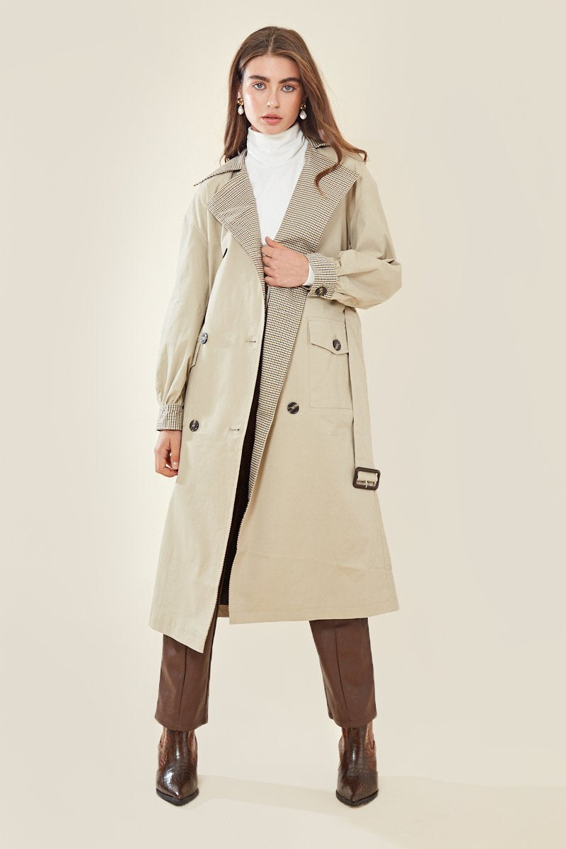 Contrast Check Oversized Trenchcoat