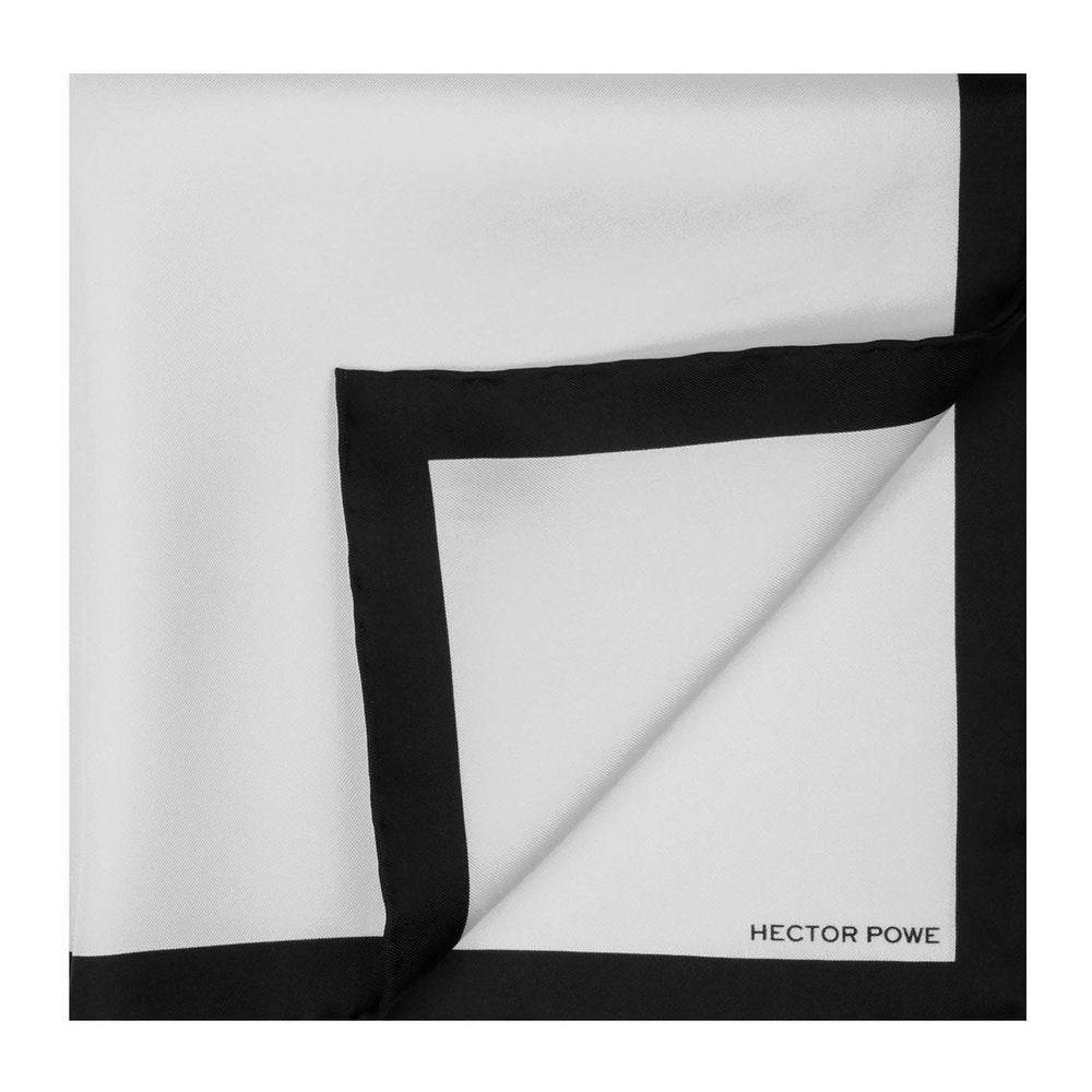 White Bordered Pocket Square