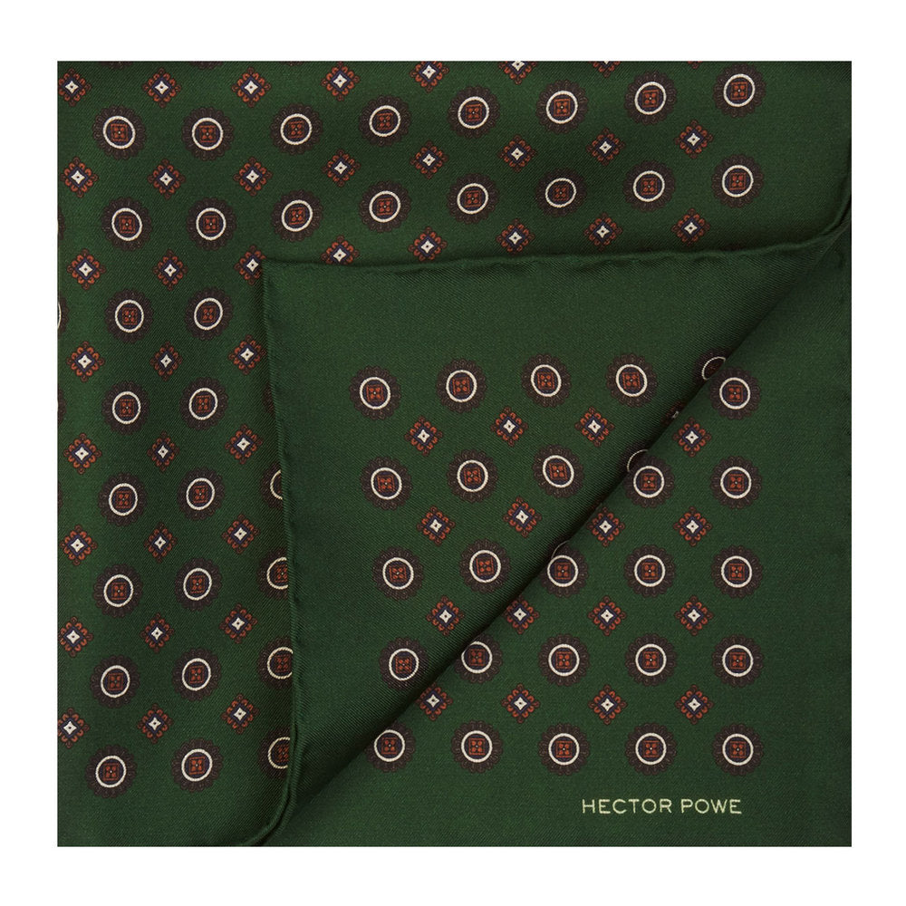 Green Medallion Pocket Square