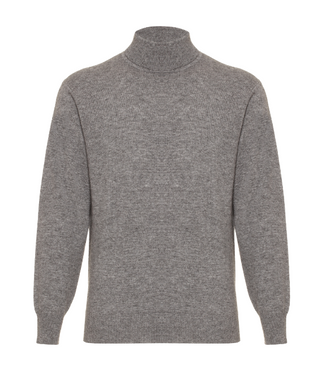Hector Powe Grey Cashmere Polo Neck Jumper