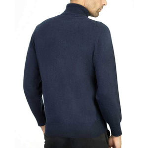 Navy Cashmere Polo Neck Jumper