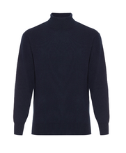 Load image into Gallery viewer, Hector Powe Navy Cashmere Polo Neck Jumper