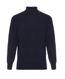 Hector Powe Navy Cashmere Polo Neck Jumper