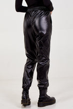 Load image into Gallery viewer, Black Faux Leather Joggers