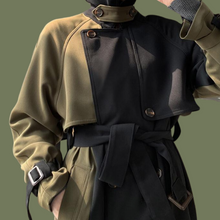 Load image into Gallery viewer, Spliced Green & Black Trenchcoat
