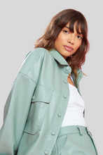 Load image into Gallery viewer, Sage Green Faux Leather Jacket