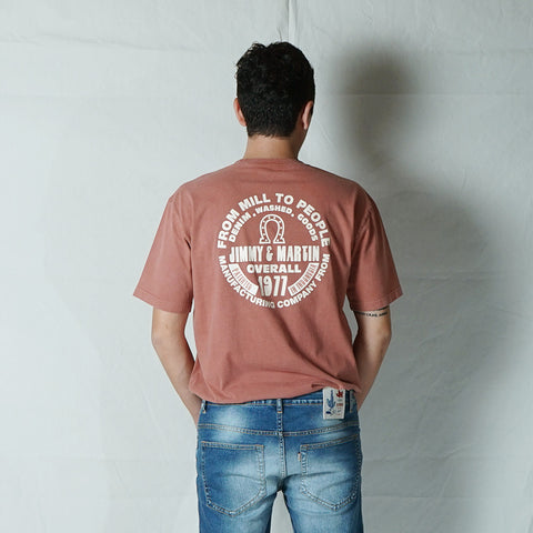 J&M AUTHENTIC RED FADES PIGMENT DYED TEES 1023