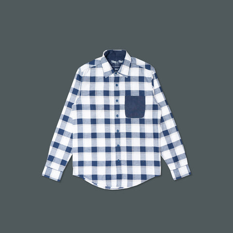 PLAID NAVY SHIRT LONG SLEEVE 3014