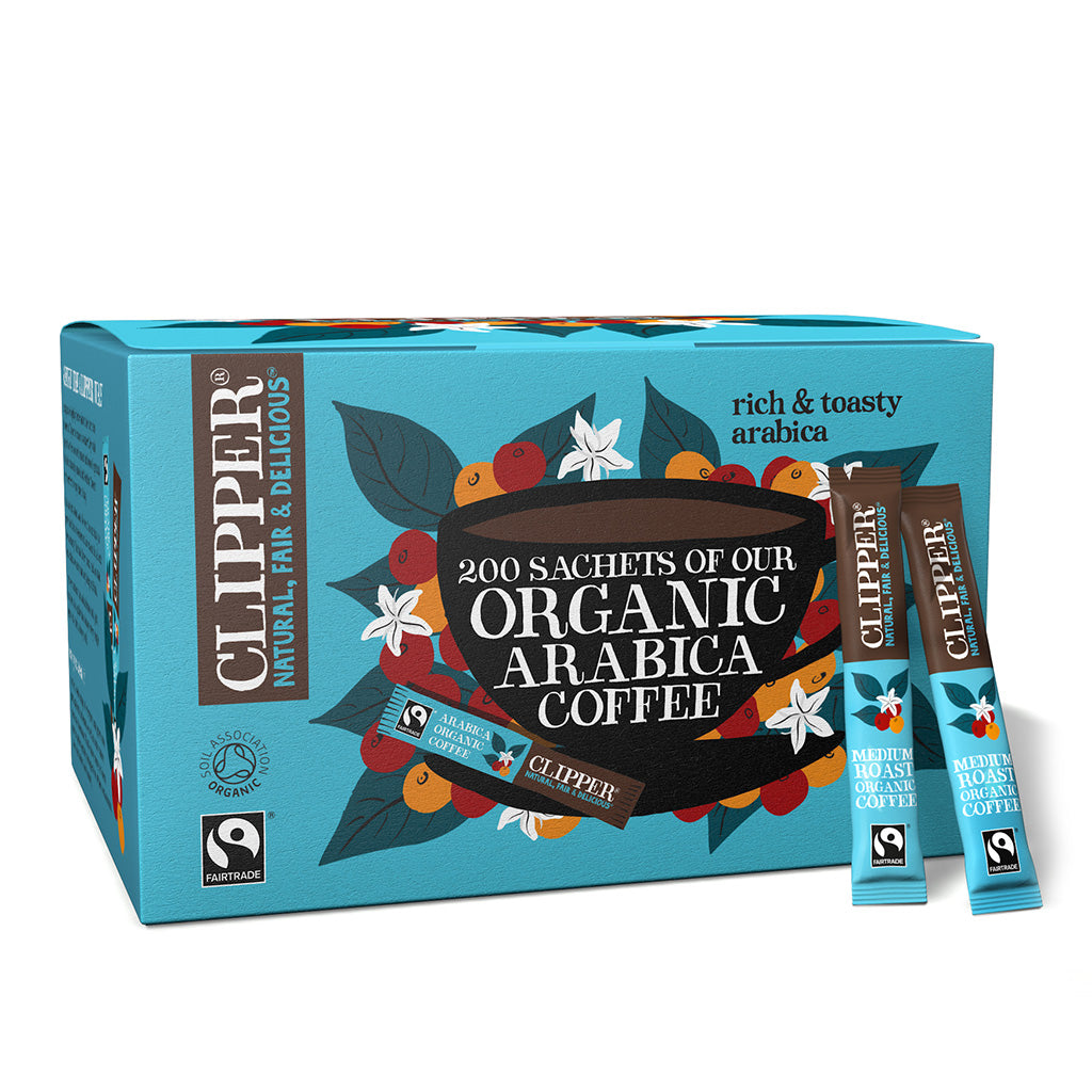 fairtrade organic medium roast arabica coffee 200 sachets