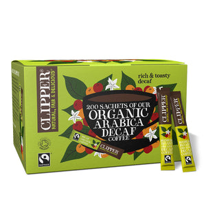 fairtrade organic medium roast decaf arabica coffee 200 sachets