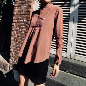 Sexy Plain Loose Button Collar Long Sleeve Blouse