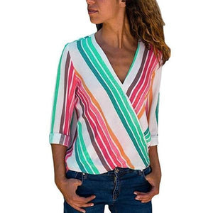 V Neck  Color Block Striped  Blouses