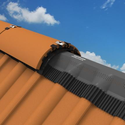 Manthorpe Roll Out Dry Vent Clay Ridge System 6m - Black - Roofing Supplies UK