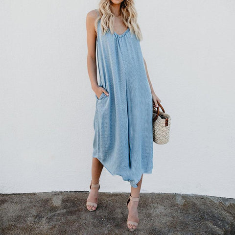 Solid Color V-Neck Sleeveless Sling Jumpsuit Maxi Skirt