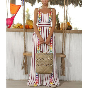 Sexy Strap Striped Vacation Casual Jumpsuit