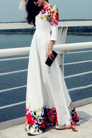 Elegant Floral Print Long Sleeves Formal Maxi Dress