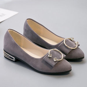 Plain  Chunky  Low Heeled  Velvet  Round Toe  Date Office Flat & Loafers