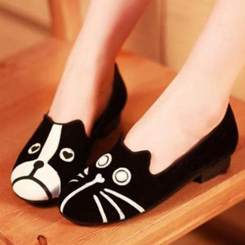 Cartoon Color Block  Flat  Velvet  Round Toe  Casual Outdoor Comfort Flats
