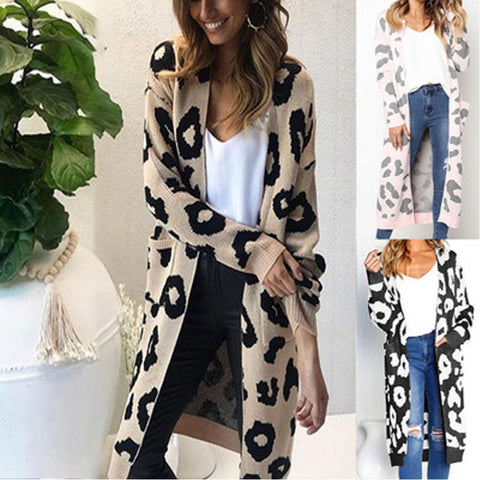 Leopard Casual Pocket  Long Section Cardigan