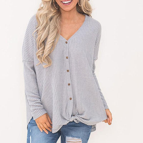 V-Neck Button Tied Loose Long Sleeve T-Shirts