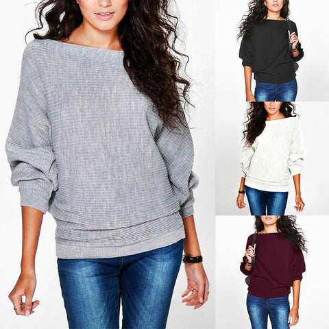 Fashion Loose Slash Neck Batwing Sleeve Plain Knitting T-Shirts