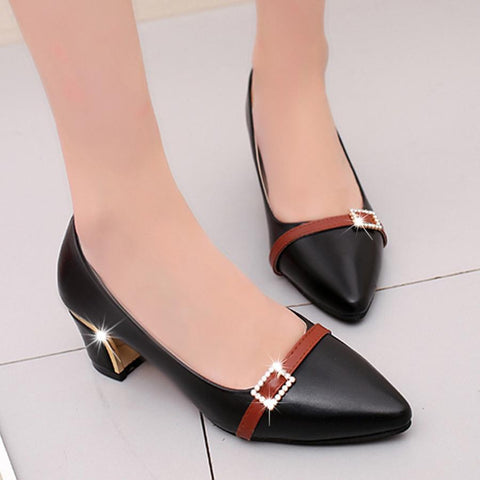 Color Block  Chunky  High Heeled  Point Toe  Date Office Pumps