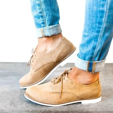 Comfort Low Heel  Shoes Lace-Up Daily Loafers
