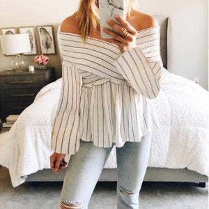 A Sexy V-Neck Striped T-Shirt