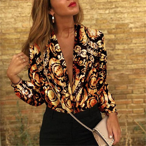 Autumn And Winter   Fashion V Collar Print Long-Sleeved Blouses