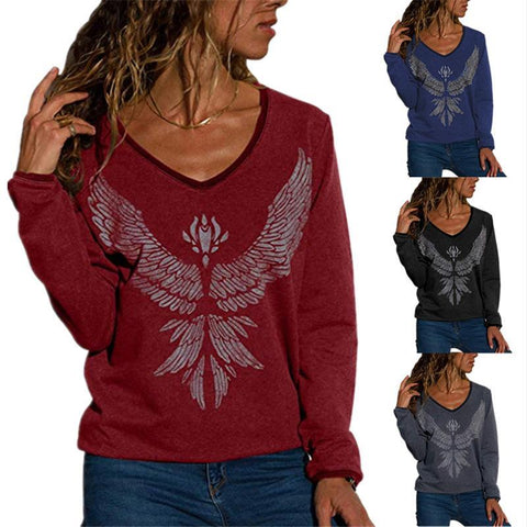 V Neck Printed Long Sleeve Sweatershirts