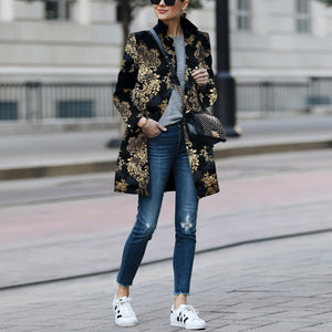 2019 Fashion Printed Colour Printed Long Sleeve Coat