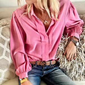 Casual Loose Pure   Color Pleated Long Sleeve Shirt