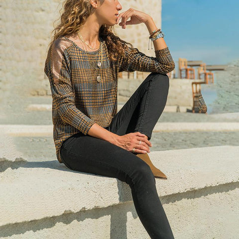 Fashion Plaid Long Sleeve Top