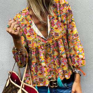 Casual V Neck Printed Colour Blouse