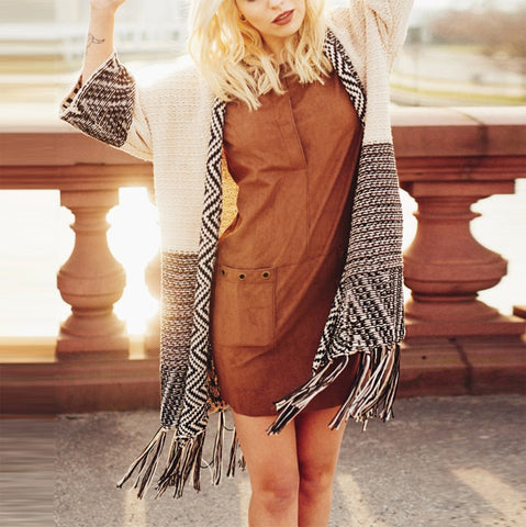 Fashion Tassel Long Sleeve Sweater Cardigan