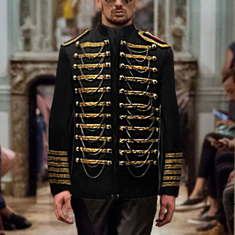 Fashion Military Uniform Court Style Decorative Zipper Suits