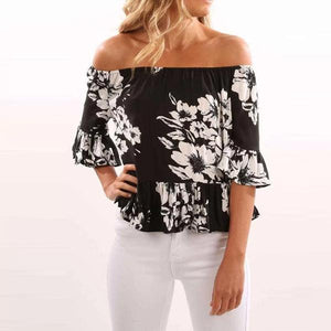 Off Shoulder  Floral Printed  Bell Sleeve T-Shirts