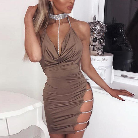 Bright Diamond Sling Deep V Open Back Halter Dress