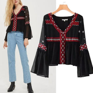 Ethnic Style V-Neck Long-Sleeved Embroidered T-Shirt